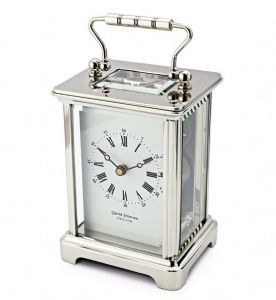 David Peterson Chrome Obis 8 day Mechanical Carriage Clock. DP/OB/S